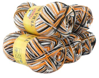 5 x 100 g yarn TERA MULTI, #812 orange grey white