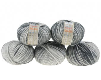 5 x 100g knitted yarn TULISA, #01 smoke