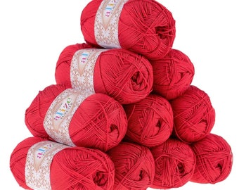 10 x 50g crochet/knitted yarn Alize forever, #106 Red