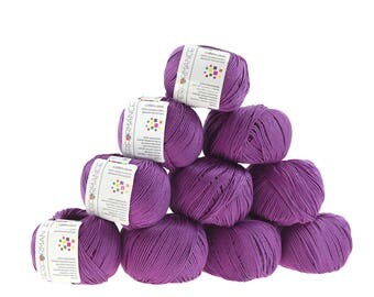10 x 50 g knitting wool cotton gem #065 violet