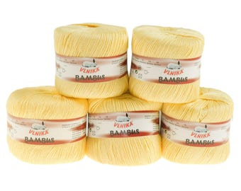 5 x 50 g Knitting yarn bamboo of by VLNIKA, #310 yellow