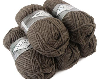 5 x 100 g yarn ALIZE SUPERLANA MAXI 25% wool #240 milky brown