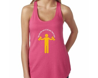 You Are The Sum Of All Your Hard Work Women's Hot Pink Racerback Tank