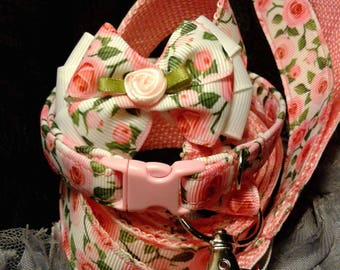 Pink roses trio set, leash, collar, bow