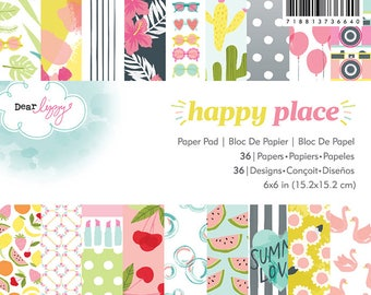 "American Crafts Happy Place 6x6"" Paper Pad by Dear Lizzy"