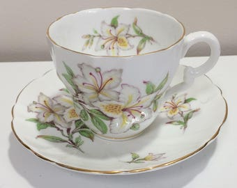 Vintage Stanley White Floral English Tea Cup and Saucer Bone China