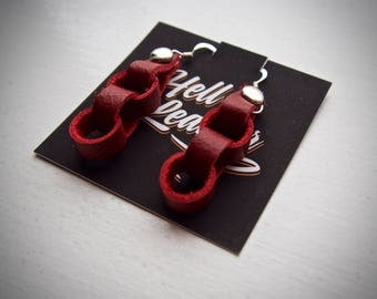 Unique handmade leather chain link earrings