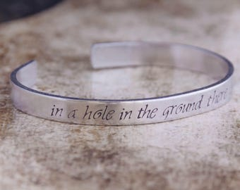 In A Hole In The Ground There Lived A Hobbit / Literary Bracelet / Literary Jewelry / Lord Of The Rings Jewelry / Tolkien / The Hobbit