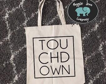 Touchdown Tote, Football Tote, Canvas Tote, Bag, Football Bag, Fall Bag