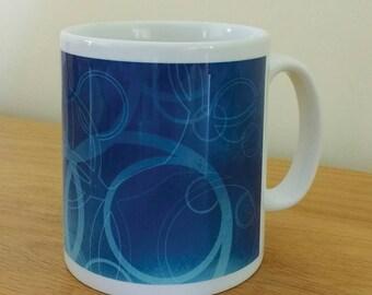Geometric blue mug.