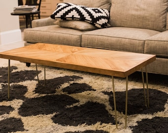 patterned wooden coffee table
