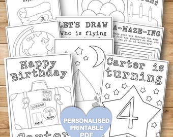 customised kids birthday adventure travel coloring book travel colouring book with activity printable pdf - Travel Coloring Book