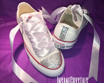 Swarovski Converse with Swarovski strip, bridal sneaker, wedding shoes, bridal converse, converse sneakers