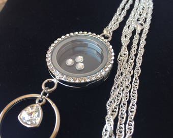 Floating Locket Lanyard Necklace with Rhinestones; Circular keepsake Locket; Keepsake locket ID holder; Keepsake Lanyard