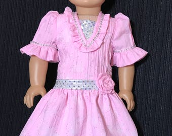 """Pink splendor with a """"silver lining"""" dress for your American Girl doll."""