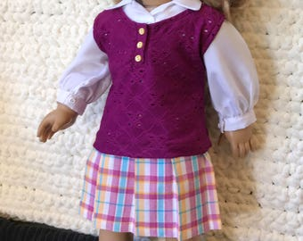 Retro preppy silky blouse, plaid skirt and vest outfit for your 18-inch doll.