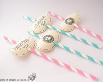 Decorations 12 straws Easter - Retro Style nest Collection - free shipping