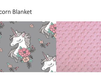 Unicorn Pink and Grey Minky Toddler Blanket