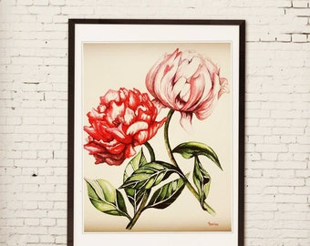pink original watercolor painting, peonies, vintage, handmade,visual art, bohemian, flowers, colorful, wall décor, home décor,floral art