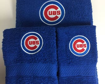 Chicago Cubs Towel Set, Cubs Bath Towel Set, Cubs Hand towel, Cubs Washcloth, Chicago Cubs, Wedding Shower Gift, Chicago Cubs Bathroom Decor