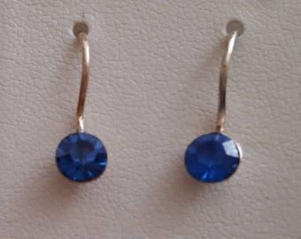 Free shipping** Sterling silver blue beautiful earrings