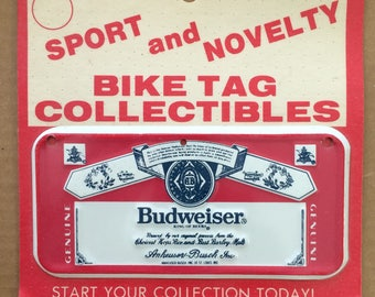 Vintage 1970's Budweiser Label Bicycle License Plate tag