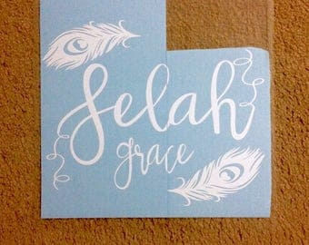 Name Decal - wall decal - feather decal - wall stickers - wall art - baby name decal - nursery decor - girl room - feather decor - feathers
