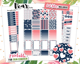 Planner Stickers, Love Stickers, Erin Condren Vertical, Valentine Sticker, Planner Printable Sticker, February Planner Sticker