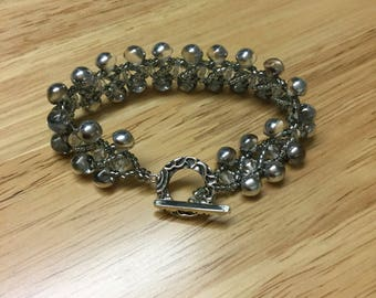 Silver beeded bracelet with vintage clasp