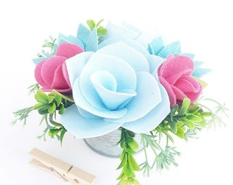 Small Felt Succulent and Flower Centerpiece .  Vintage Blue and Pink Floral Centerpiece . Wedding Table Number
