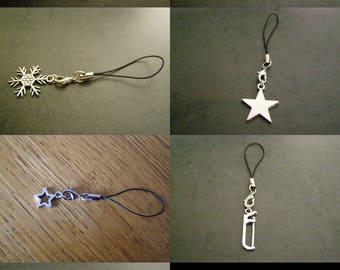 to choose from, phone charm, lantern, anchor, snowflake, Star, saw, Eiffel Tower.
