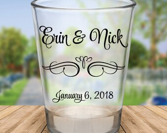 Custom Script Personalized Wedding Favor Shot Glasses