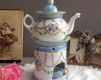 French porcelaine tisanière. Vintage teapot and stove. Paris porcelaine. Antique french herb tea set.