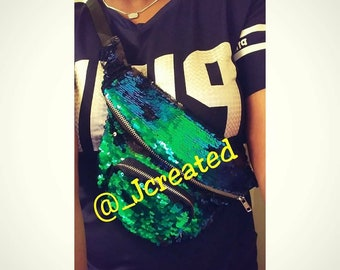 Green mermaid fanny pack