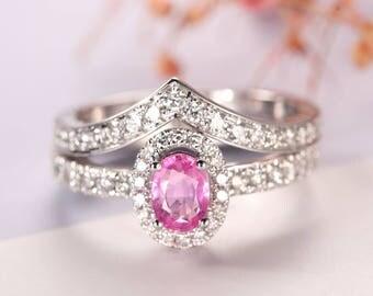 2 pcs Sapphire ring bridal set, Oval engagement ring white gold, Halo Pink sapphire engagement ring, Diamond wedding band, Bridal ring set