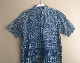 Blue Tribal Indigio Cotton Short Sleeve Button Up