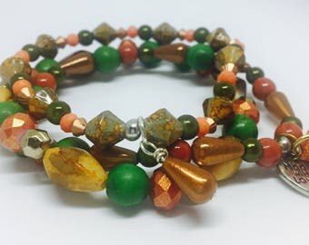 Womens stack bracelet | Beaded Stack Bracelet | Orange Green Bracelet | Set of 3 bracelets | Stretch Bracelet | Boho Stack Bracelet |Boho