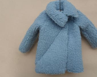 Coat faux fur girl blue lamb