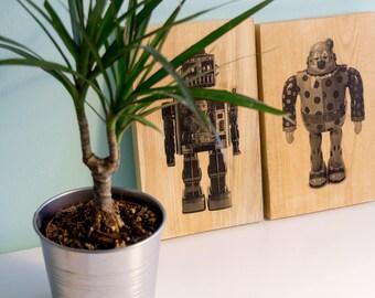 Wood Photo Transfer, Pallet Art, Robot, Pine wood, wall decor, Photo on wood, Pallet Wall Art, Robot Art, Clown, Wood