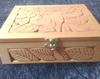 Wood box- jewelry case-hand carved -basswood