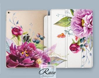 Floral clear case iPad pro 10.5 cover iPad air 2 iPad mini 3 case 9.7 hard 2017 Peony art cute iPad case 1 iPad 4 smart stand iPad pro 12.9