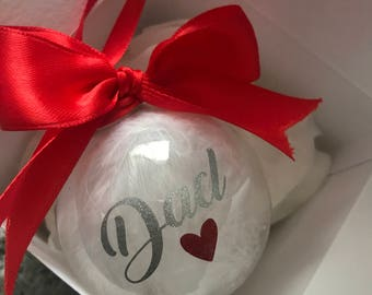 Personalised Memorial Christmas Bauble - Luxury Gift - Bespoke - Loved ones - Filled with white feathers