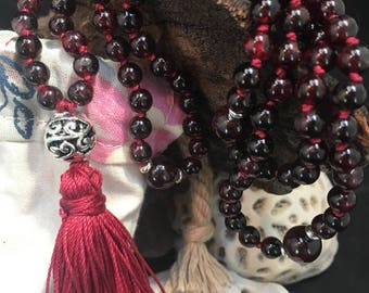Garnet Red 6mm Round Crystal Bead Hand Knotted Silk Mala // Silk Tassel //Yoga Necklace // 108 Prayer Beads // Loyal // Ladies Gift
