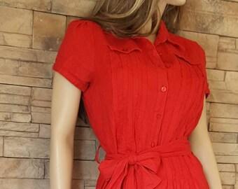 Red linen dress/button down dress/