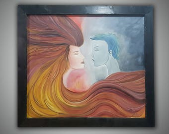 Riot people artwork, oil painting on canvas by Tal azari -  Love Is a Riot