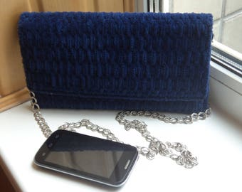 Evening dark blue bag-clutch