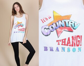 """80s """"It's A Country Thang"""" Tank Top - Large // Vintage Branson Missouri Graphic Muscle Shirt"""