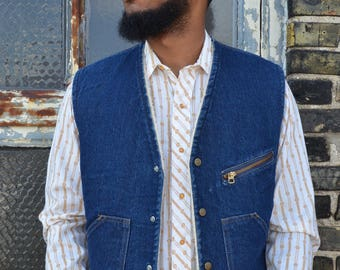 70s Blue Denim Sherpa Vest, Come On Strong Brand