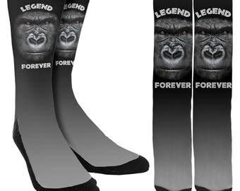 RIP Harambe Legend Forever Crew Socks - RIP Harambe Socks - Unique Socks - Novelty Socks - 100% Comfort -  FREE Shipping
