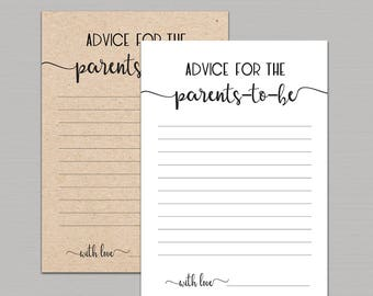 Advice for parents to be printable, advice for parents card, parents advice cards, rustic baby shower advice card, advice for new parent B11